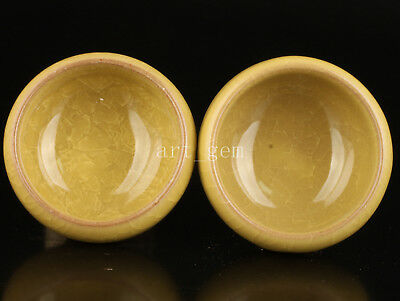 Ice To Crack Porcelain Chinese With Yellow Tea Cups Collectable