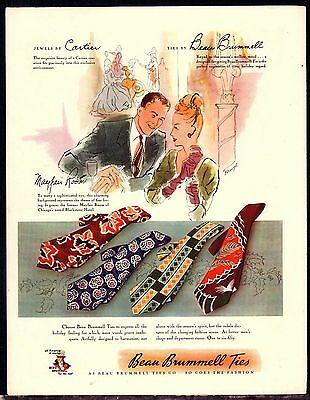 1946 BEAU BRUMMELL Men's Ties Vintage Fashion Clothing AD