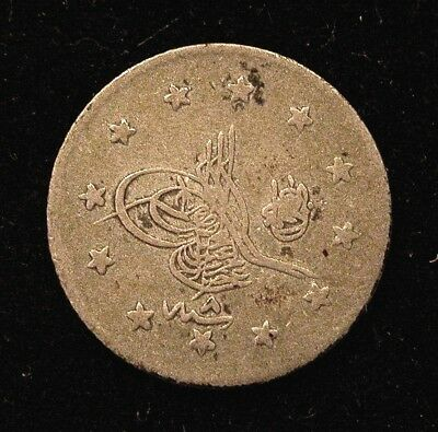Ah 1293 Year 8 Turkey 1 Piastre Silver Coin - Low Mintage