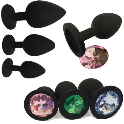 Butt Toy Plug Anal Insert Black Silicon Cute Jeweled Sexy Stopper Size S M L