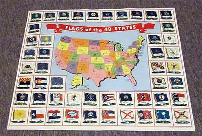 Late 1950's NATIONAL BISCUIT CO. Premium Tin Litho Flags of the 49 States & Map
