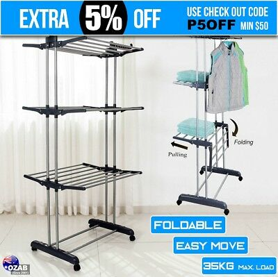 Foldable 6 Tiers Clothes Airer Drying Rack Portable Laundry Indoor Garmen Hanger
