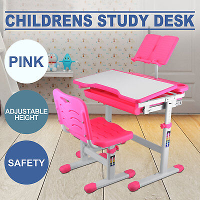 Kids Study Table And Chair ADJUSTABLE HEIGHT READING PAD PINK SAFE STABLE