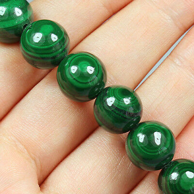 271.5CT 100% Natural Rarely seen Bull's Eye Green Malachite Bead Bracelet BMA102