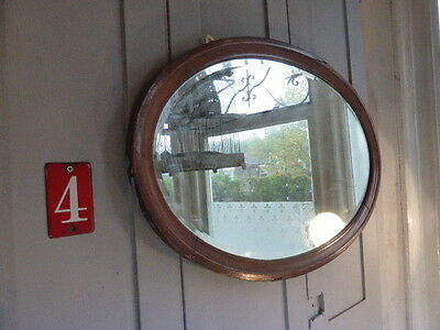 Antique Edwardian oval framed bevelled mirror