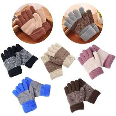 Baby Boys Girls Winter Warm Gloves Knitted Full Finger Gloves Toddler Mittens