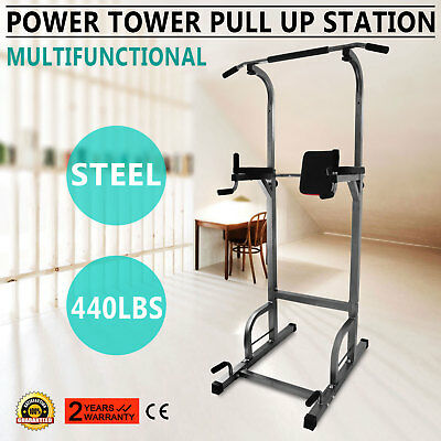 Power Tower 770lb Height Adjustable Station Chin Up Push Up Sit Up GREAT UPDATED