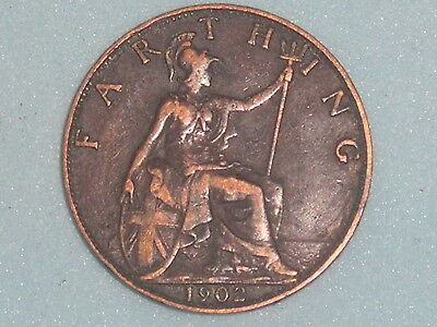762) EDWARD VII FARTHING 1902 £3.50 FREE UK POST Box One