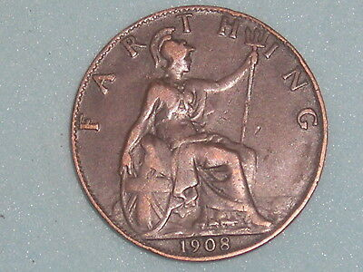 765) EDWARD VII FARTHING 1908 £2.65 FREE UK POST Box One