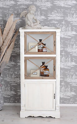 Wood Display Case Wardrobe Vintage Country Style Cabinet White Glass Door