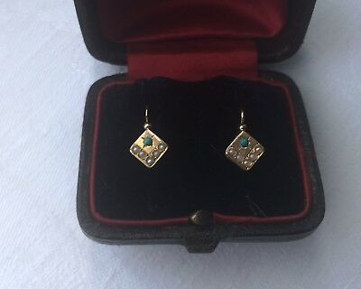 dainty Antique French Turquoise & Pearl 18ct gold earrings