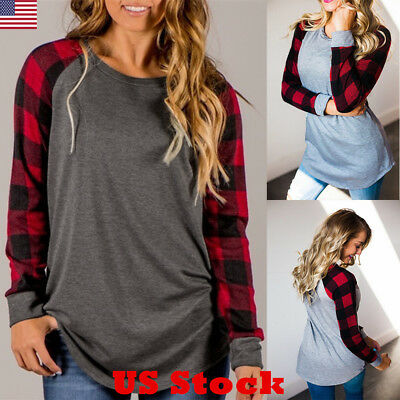 USA Women Ladies Plaid Long Sleeve Loose Tops Shirt Casual Baggy Top Blouse New