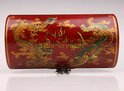 Red Leather Dragon Phoenix Decorated Classic Jewelry Box Gifts Collectable Old