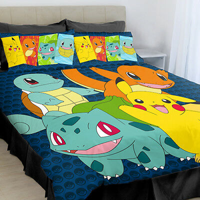 POKEMON QUEEN Bed Quilt Doona Duvet Cover Set Kanto Pikachu Squirtle Charmander