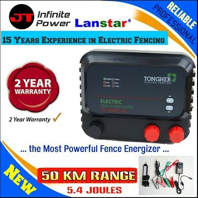 New Powerfull 50km 5.4J Electric Electric Fence Charger+Bonus Fence Tester