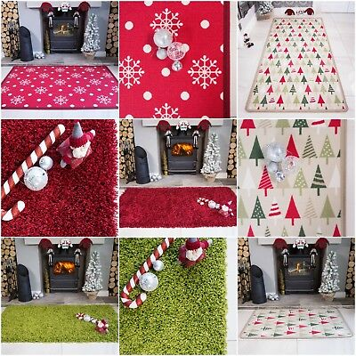 Modern Red Green Snow Tree Christmas Mats Soft Durable Fluffy Shaggy Xmas Mats