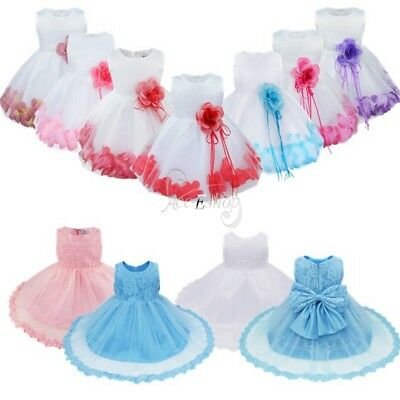 Baby Sweet Flower Girl Birthday Wedding Pageant Party Princess Lace Tutu Dress