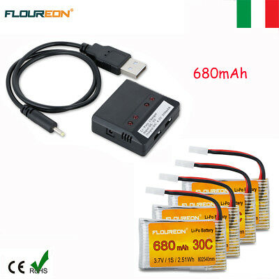 4X 3.7V 680mAh 30C Li-Po Batteria per Syma X5 X5C X5SC X5SW Drone+Caricabatterie