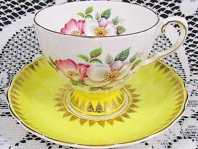 Royal Tuscan Pink White Blossoms Yellow Floral Tea Cup And Saucer