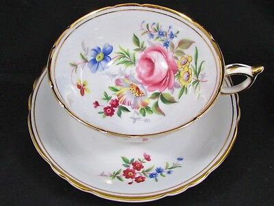 Paragon Pink Rose Floral Spray Pale Gray Tea Cup And Saucer