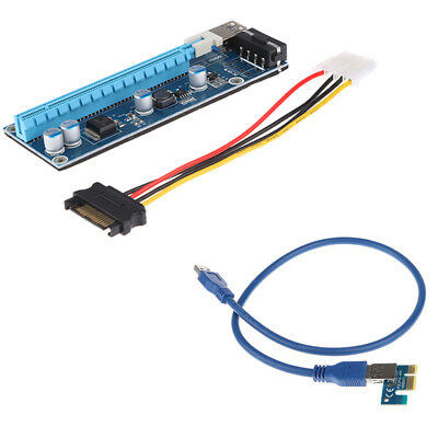 USB 3.0 PCI-E 1x To 16x Audio Extender Riser Card Adapter SATA Power Cable