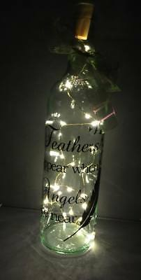 Beautiful Light Up Wine Bottle With Angel Feathers Quote Unique Gift