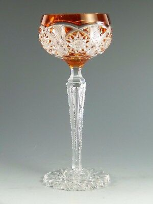 VAL St LAMBERT Crystal - SAARBRUCKEN Cut - Hock Wine Glass / Glasses - 7 5/8""