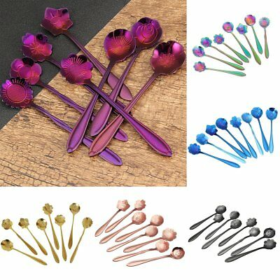 8Pcs Stainless Steel Flower Coffee Drink Mixing Spoon Tableware Kitchen Teaspoon