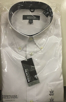 NWT Mens KENNETH COLE REACTION White Regular Fit Dress Shirt Medium M 15.5 32 33