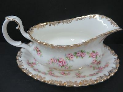 Royal Albert Dimity Rose Gravy Boat and Underplate England