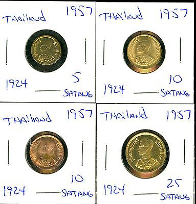 Thailand - 1957 - 5-10-10-25 Satang - 4 Coins - Better Quality