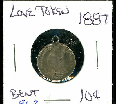 1887 Seated Dime - Love Token ( 963 )