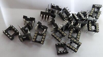 "25 8 way Turned Pin IC Socket DIL 0.3"" narrow DIP  808-AG11D-ESL T&B gold AG110"