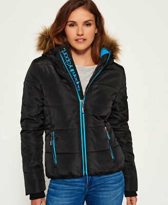 New Womens Superdry Fur Hooded Sports Puffer Jacket Black