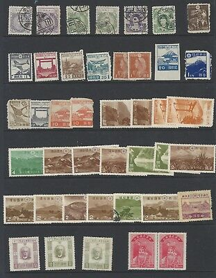 Japan a mint and used duplicated selection on two stockpages