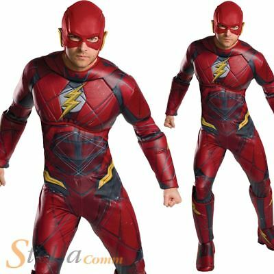 Mens Deluxe Flash Costume Justive League Superhero Fancy Dress Outfit