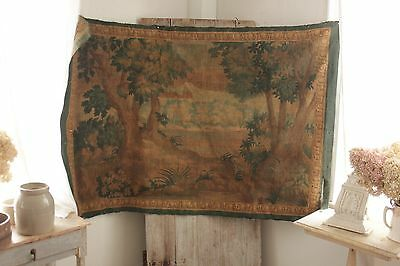 Antique French painted tapestry 1800's Aubusson style wall hanging painted