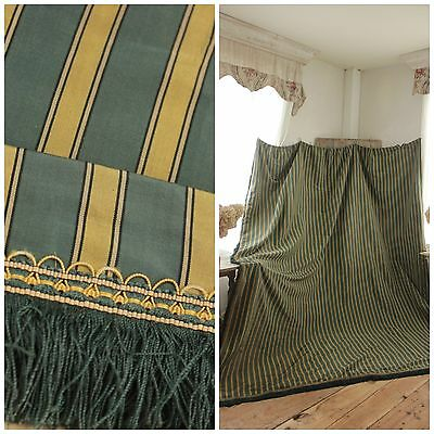 Silk striped curtain French c 1880 gold blue / green with fringe trim LARGE