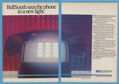 1985 Bell South Push Button Phone In New Light 2 page Art Ad