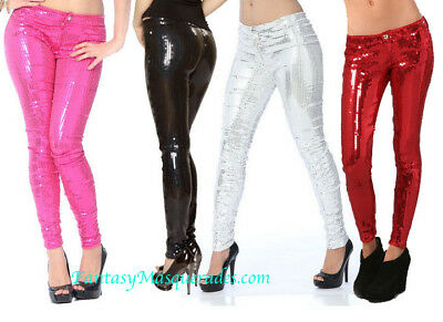 Stretch Sequin Sequin Skinny Leg Pants Jeans in Hot Pink, Black, or Red M/L