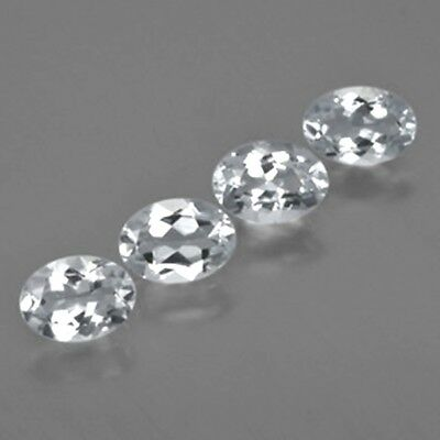 4 Pcs LOT OF 6x4mm OVAL FACETED NATURAL EARTH MINED BRAZILIAN WHITE AQUAMARINE