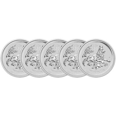 2018 P Australia Silver Lunar Year of the Dog (1 oz) $1 - BU - Five 5 Coins
