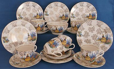 Vintage Crinoline Lady China Gold Chintz Tea Set Made In England Wedding