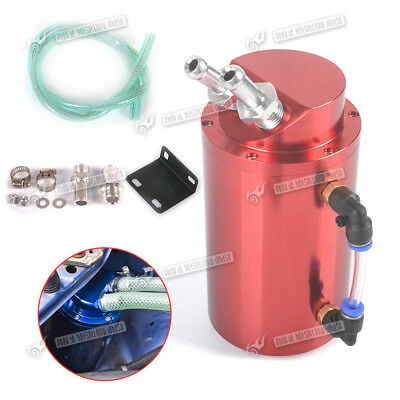Universal Billet Round Alloy Oil Resevoir Catch Tank & 9/15Mm Fittings Kit Red