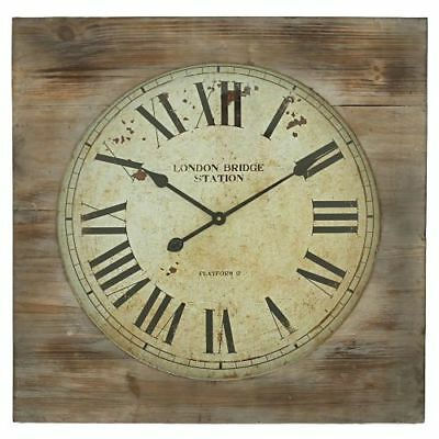 Aspire Home Accents 5095 Brown London Bridge Station Square Wall Clock
