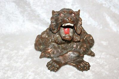 TS Antique Roaring Lion Shaped Ink Well!