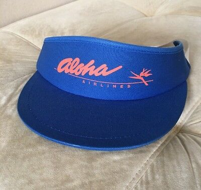 Vintage Aloha Airlines Tennis Visor Terry Cloth Lined Wide Brim