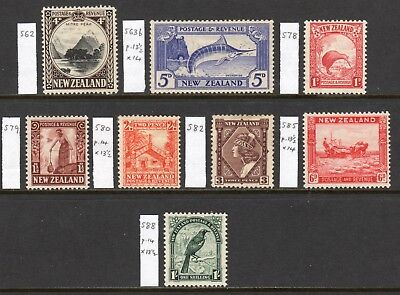 NEW ZEALAND 1935-42 Pictorial values to 1s M, SG 562//588 cat £121