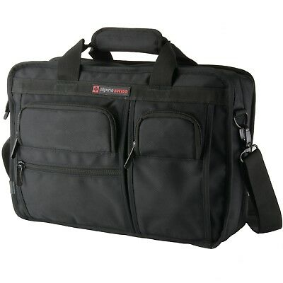 Alpine Swiss Conrad Messenger Bag 15.6 Inch Laptop Briefcase with Tablet Sleeve