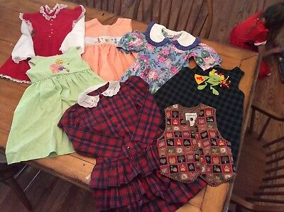7 Piece Lot Vintage Girl Clothes Dresses - modest - all seasons 6-7X